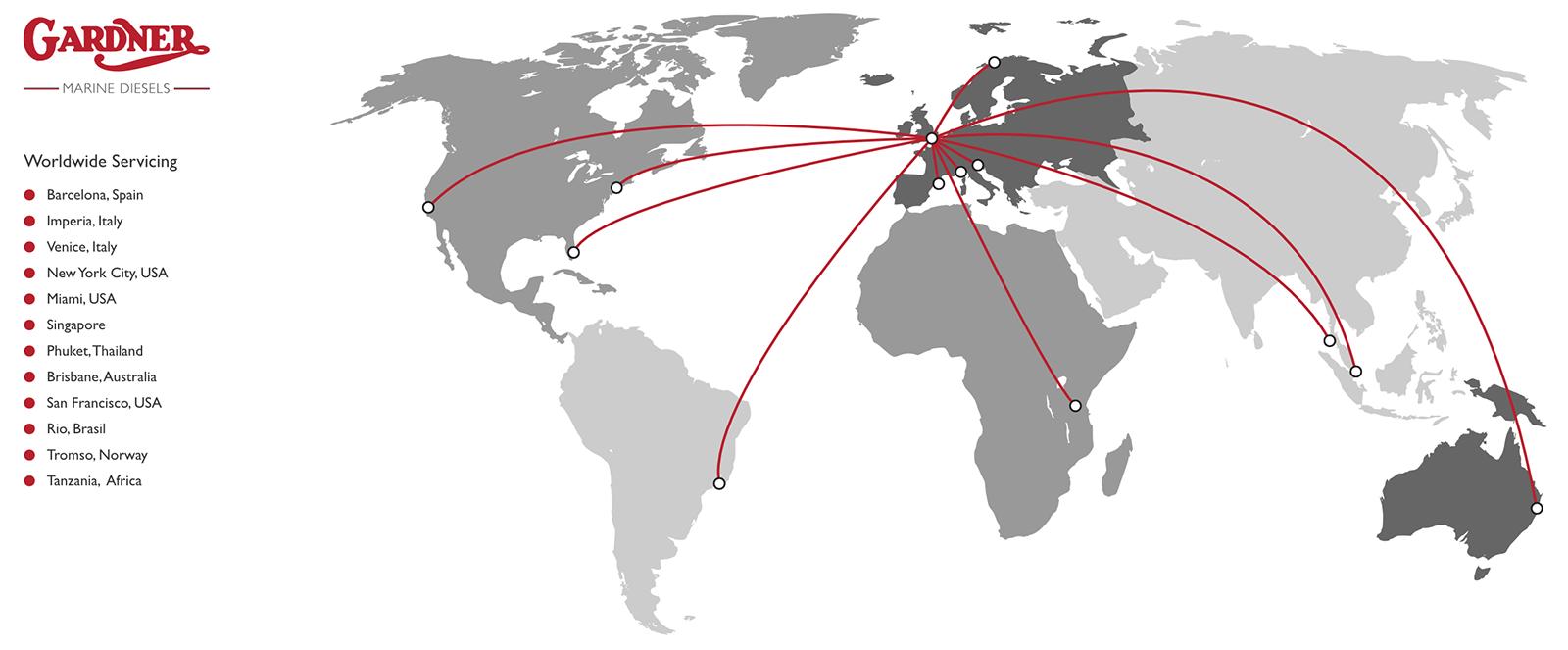 Gardner Marines Diesels - Worldwide On-Site Servicing Map Locations